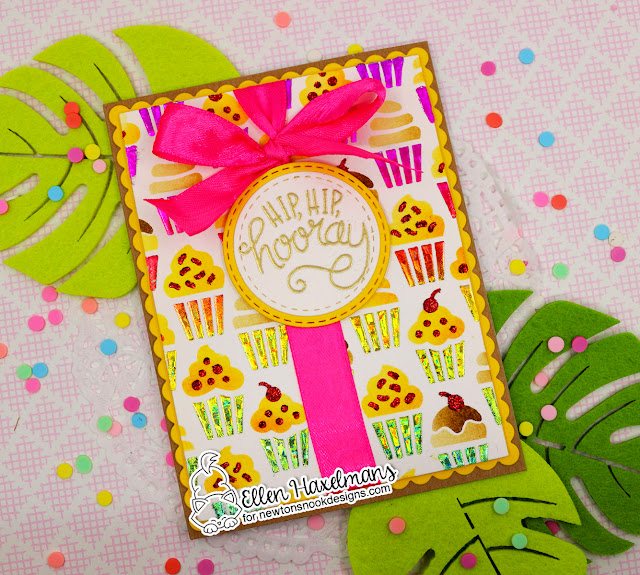 Hip Hip Hooray Card by Ellen Haxelmans   Uplifting Wishes Stamp Set, Cupcakes Stencil Set and Frames & Flags Die Set by Newton's Nook Designs #newtonsnook #handmade