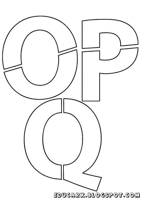 Modelo de letras para cartaz o p q