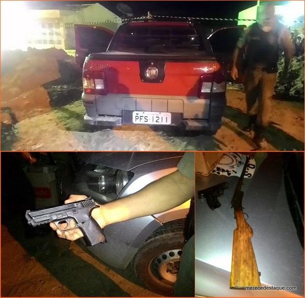Após assalto, polícia prende quadrilha com armas de fogo e carro roubado