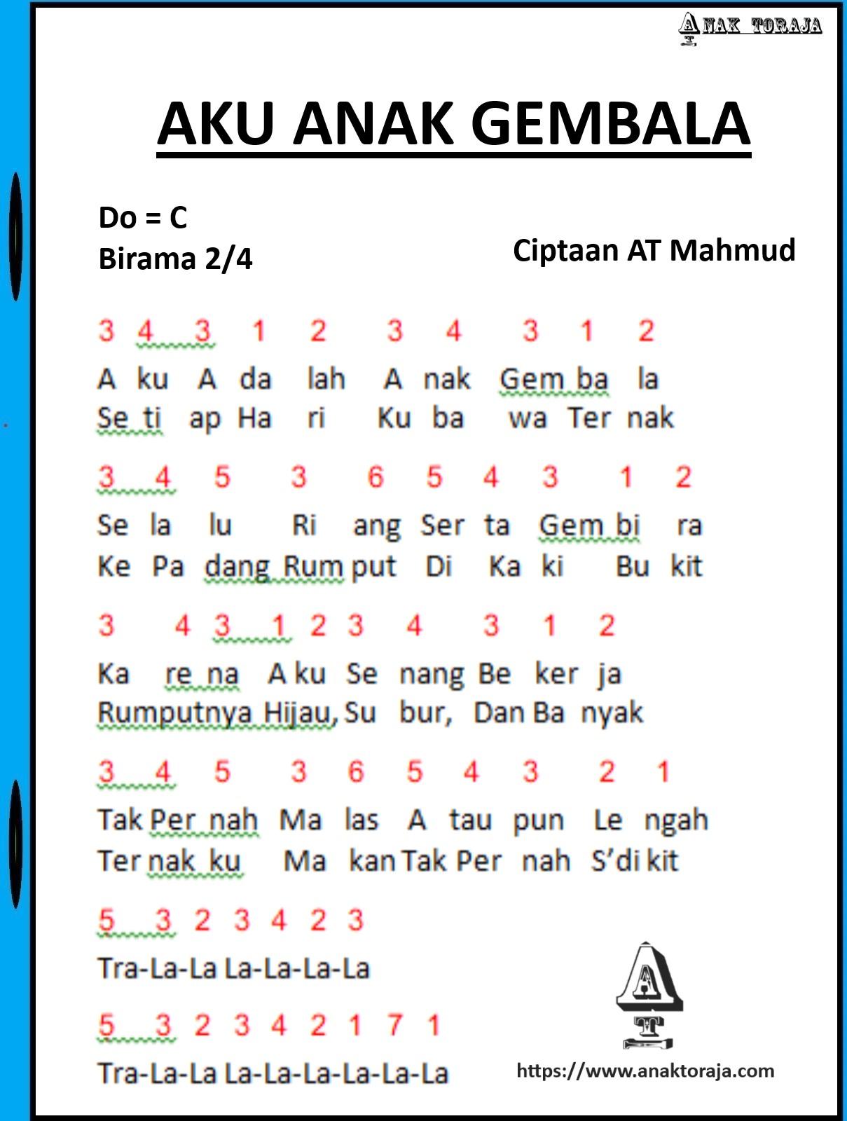 Lagu Anak Anak Beserta Not Angka : beserta, angka, Angka, Gembala, Anak-anak
