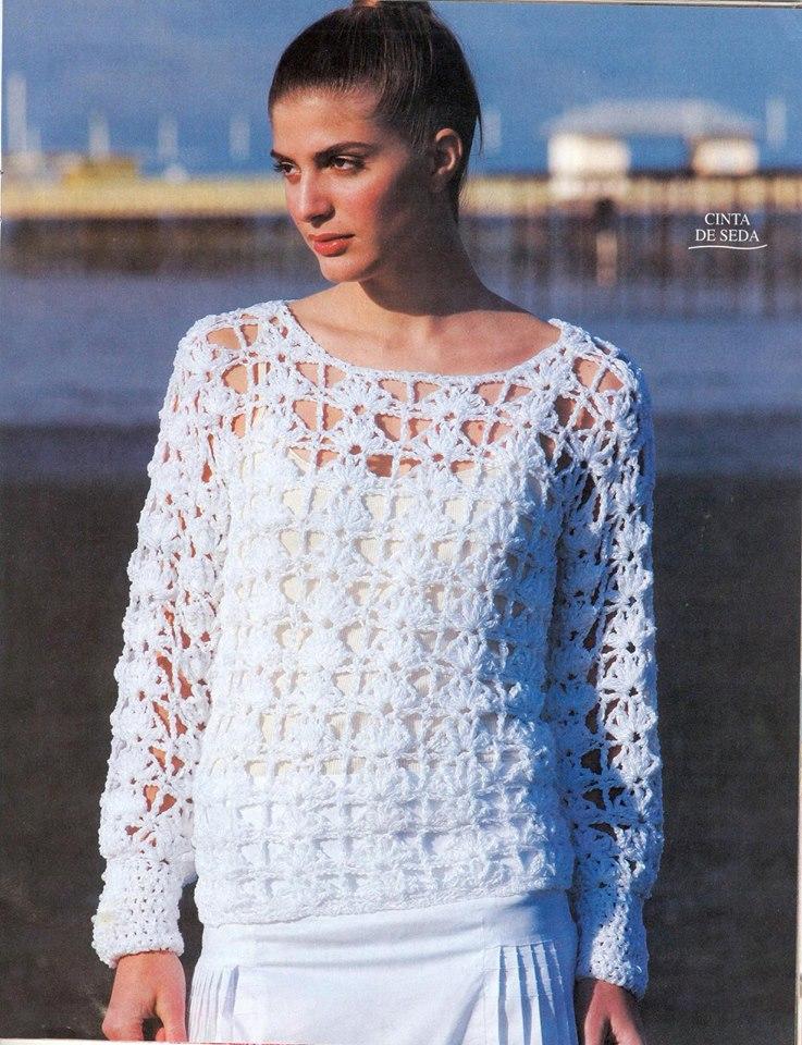 Jersey  Blanco Crochet Dibujos Enlazados