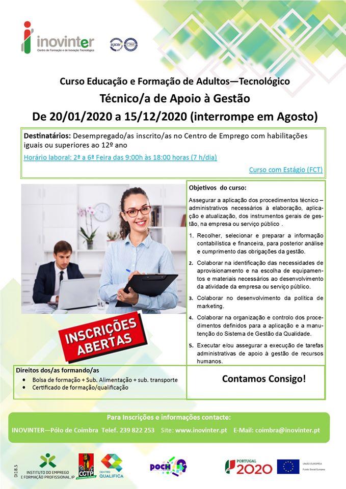 Curso de educação e formação de adultos (tecnológico) – Coimbra