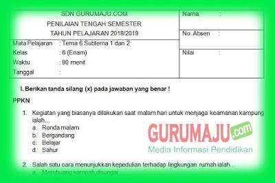 Soal UTS/ PTS Kelas 6 Semester 2 Kurikulum 2013 Revisi 2018