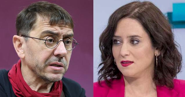 J.C. Monedero e Isabel Díaz Ayuso.