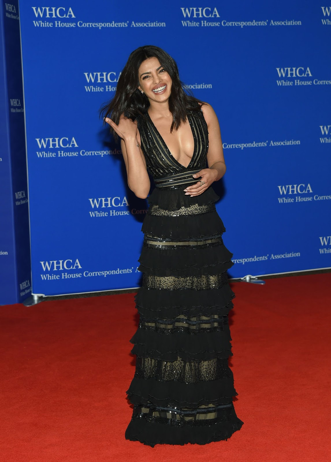 Priyanka Chopra in a Deep neck Gown Spotted in USA at an award Function