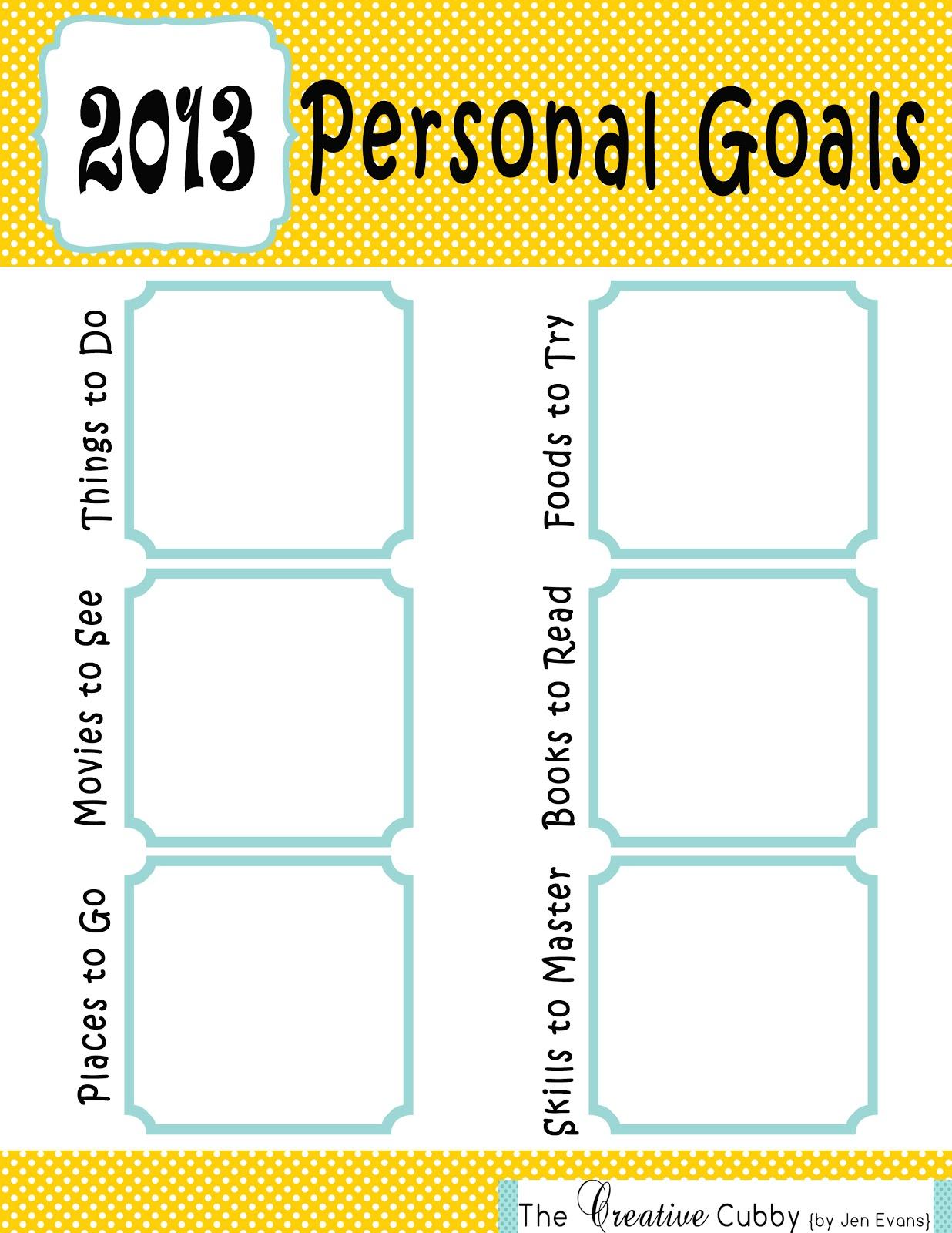goals personal sheet creative source