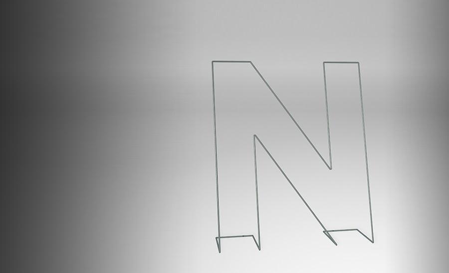 Moderno galán con forma de N.