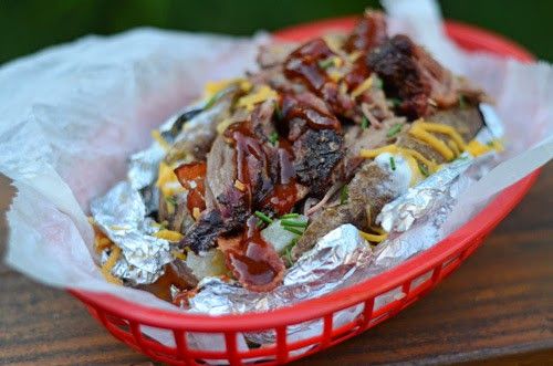 bbq beef stuffed baked potato
