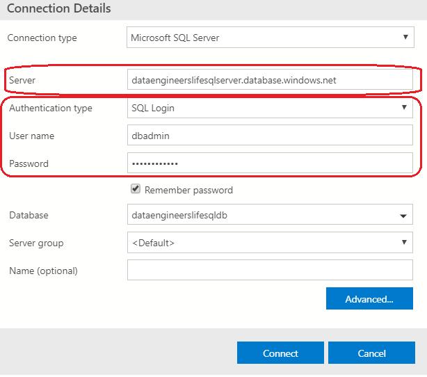 Azure Data Studio connection information