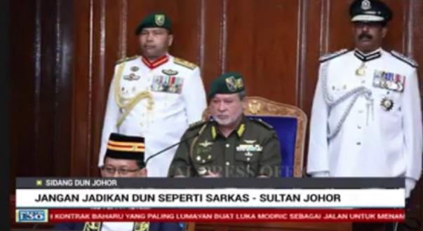 Sultan Johor bagi amaran kepada ahli dewan undangan negeri supaya beradab.