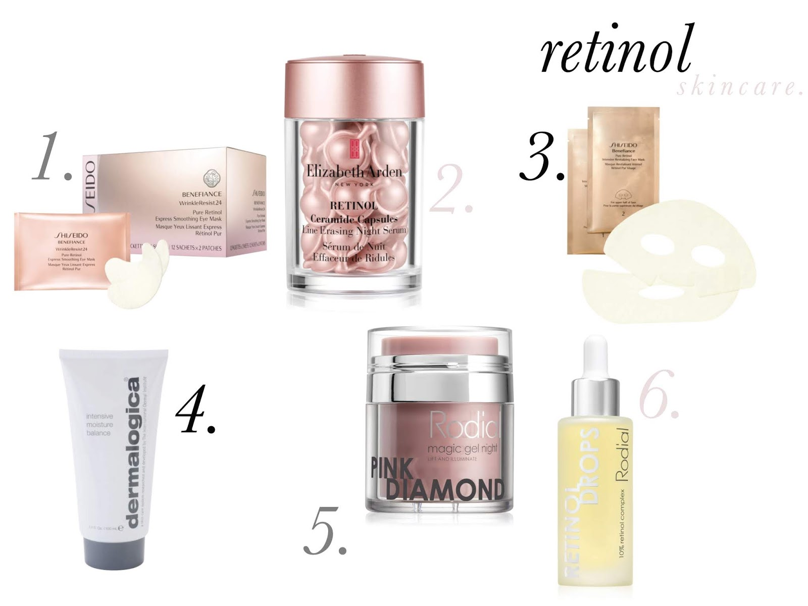 Skincare products with retinol