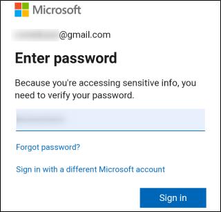 قم بتسجيل الدخول إلى حساب Microsoft الخاص بك.