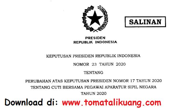 keputusan presiden keppres nomor 23 tahun 2020 tentang perubahan cuti bersama asn pns tahun 2020 pdf tomatalikuang.com