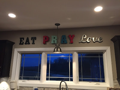 #millsnewhouse, kitchen signs, eat pray love, decorating kitchen, wall art