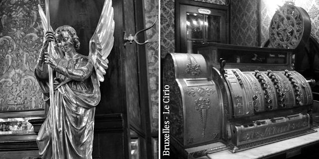 """""""Le Cirio"""" - L'une des plus anciennes tavernes bruxelloises - Classée au patrimoine des Monuments & Sites en 2011 - Archange Saint-Michel terrassant le dragon - Caisse enregistreuse d'époque - Bruxelles-Bruxellons"""