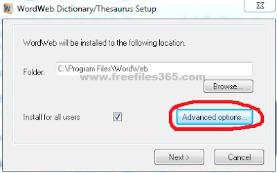 Advance Option of WordWeb Installation