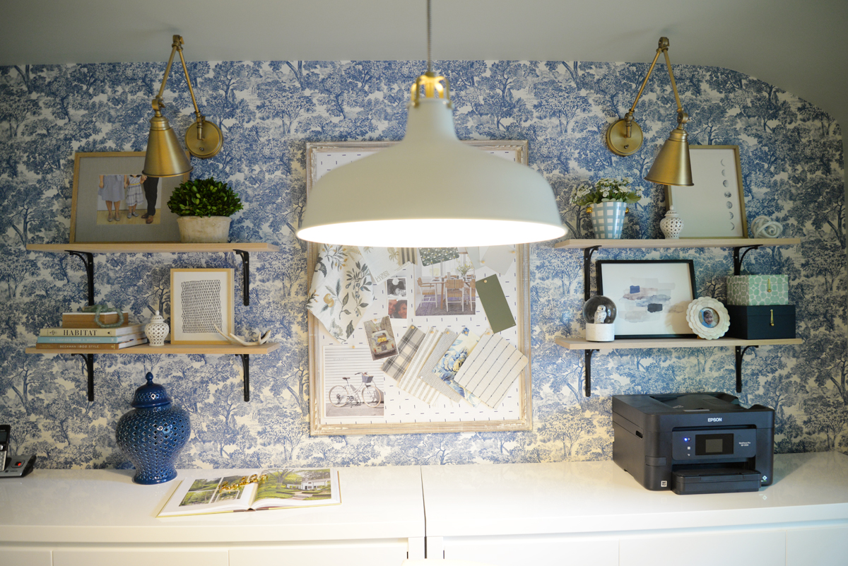 feminine home office, modern traditional office, floating shelves, Rambling Renovators, wallpaper and brass sconces