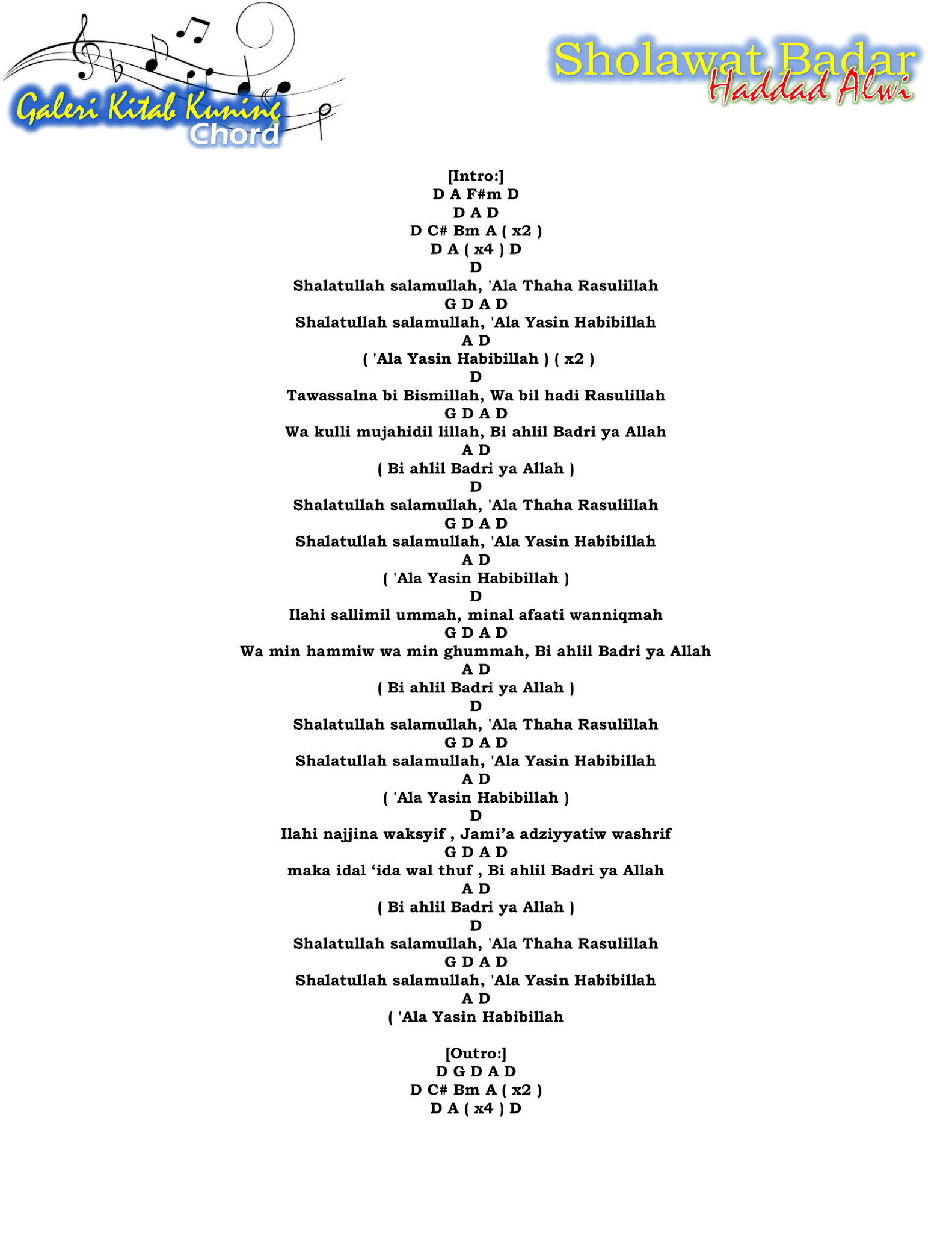 Chord Sholawat Badar : chord, sholawat, badar, Lirik, Chord, Sholawat, Badar, Haddad, Lengkap, Dengan, Gambar