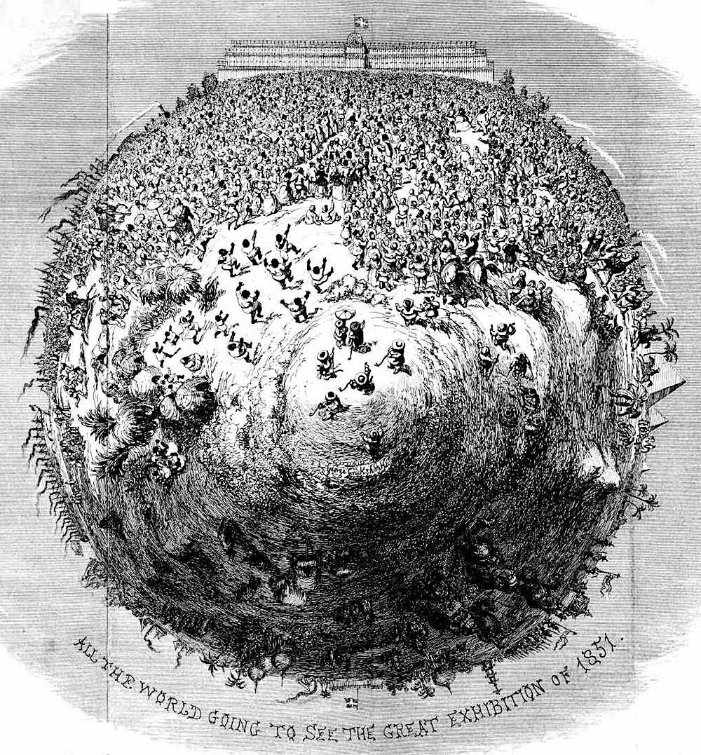 a poster for the 1851 Great Exhibition London, showing the entire Earth's people