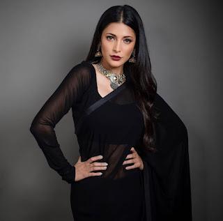 Shruti Hassan stunning look in black saree will blow your mind I shruti hassan wallpaper