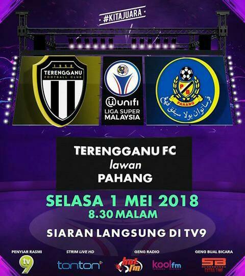 Live Streaming Terengganu Vs Pahang 1 Mei 2018