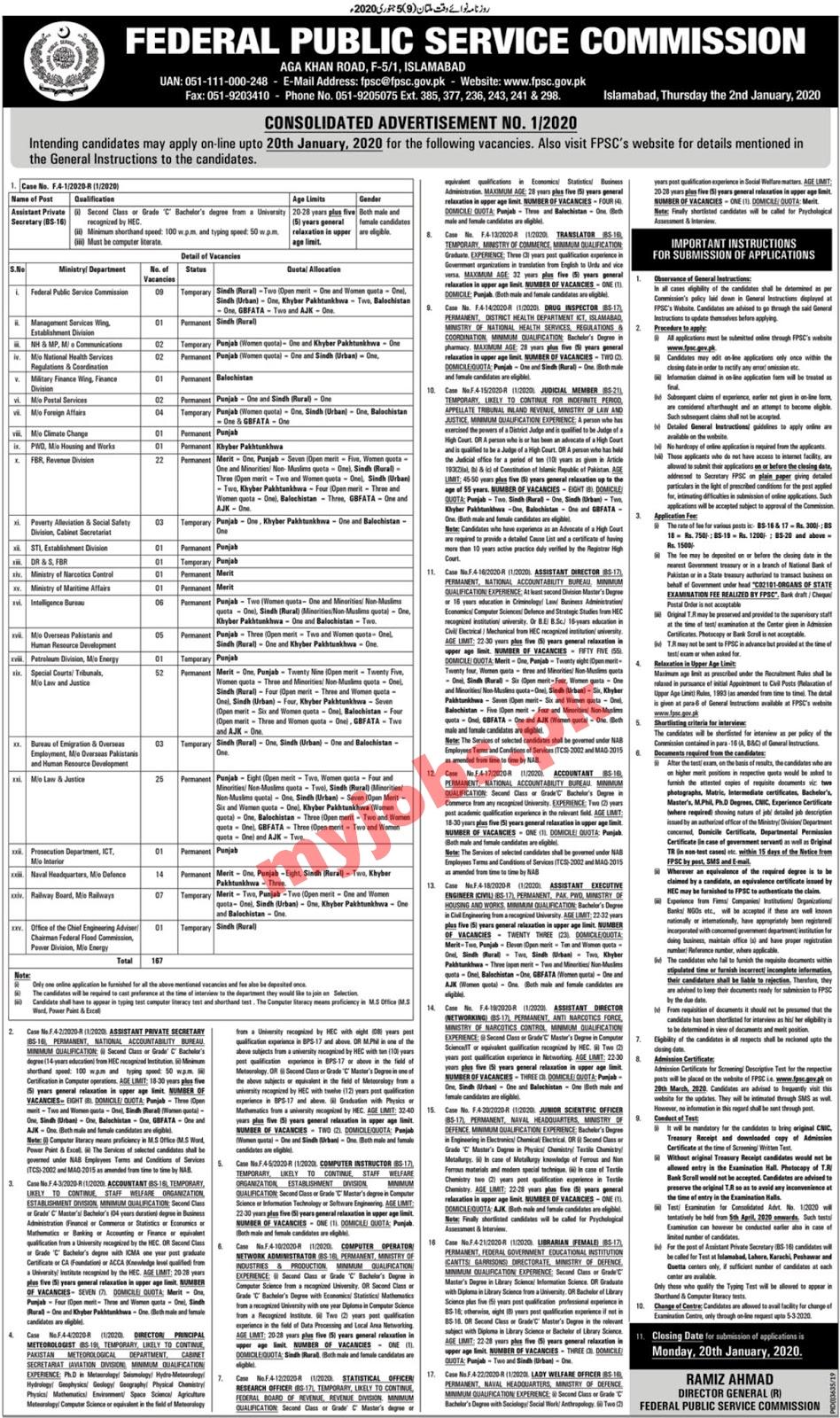 FPSC Jobs 2020 I Advertisement No.01 2020 I (700+ Posts) Free Apply Now