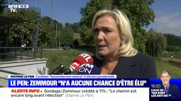 """PRÉSIDENTIELLE 2022 : POUR MARINE LE PEN, ERIC ZEMMOUR N'A """"AUCUNE CHANCE D'ÊTRE ÉLU"""""""
