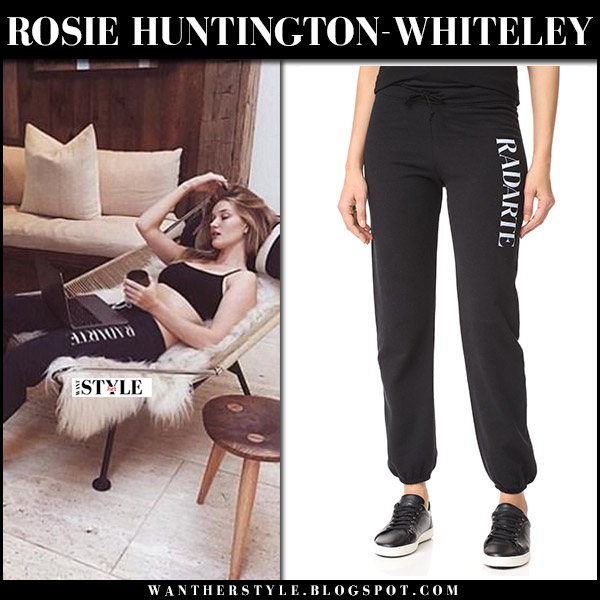 Rosie Huntington-Whiteley in black sweatpants rodarte, black crop top casual off duty style lounge fashion october 11 2017