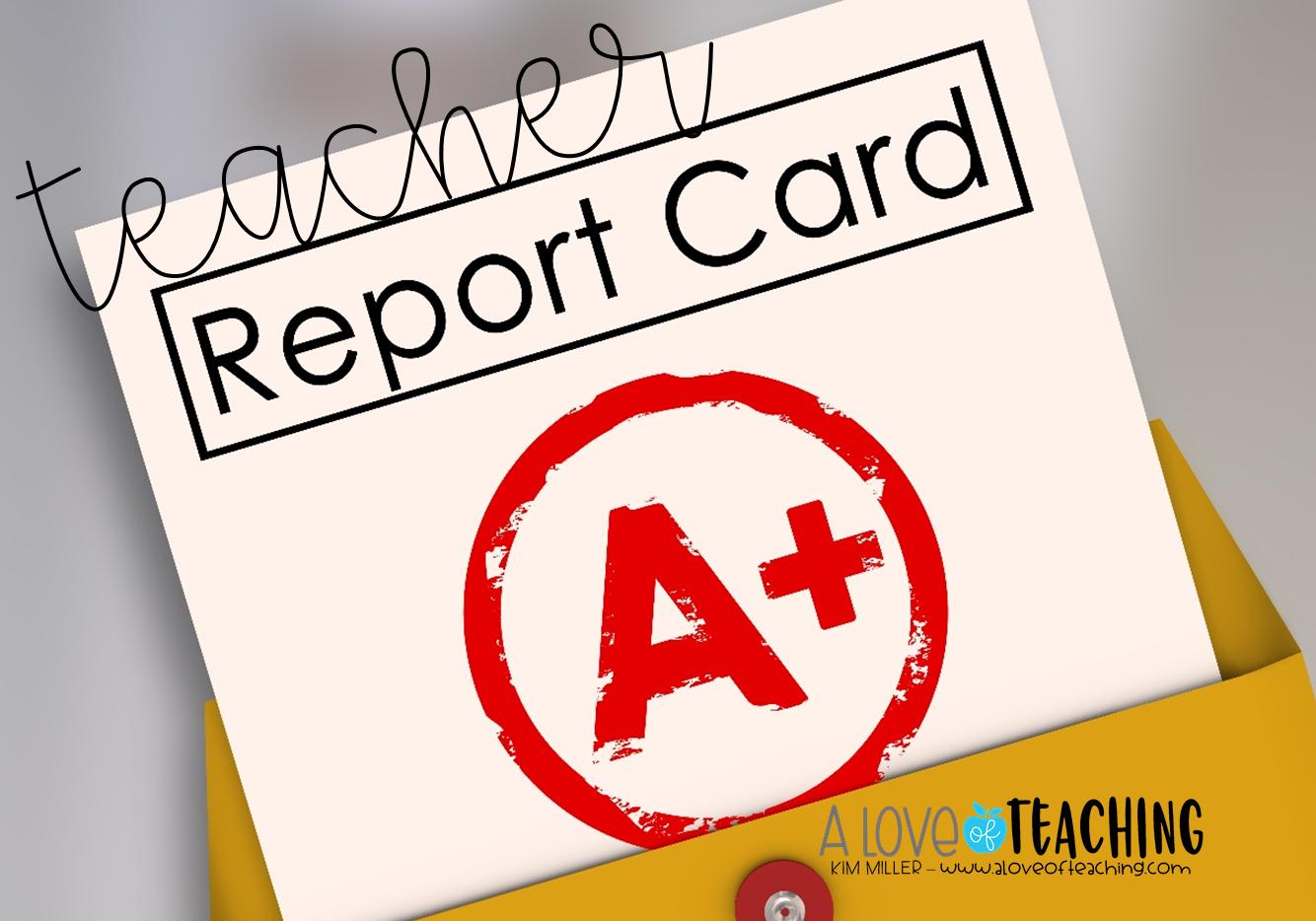 Teacher Report Card A Fun Way To Grade The Teacher