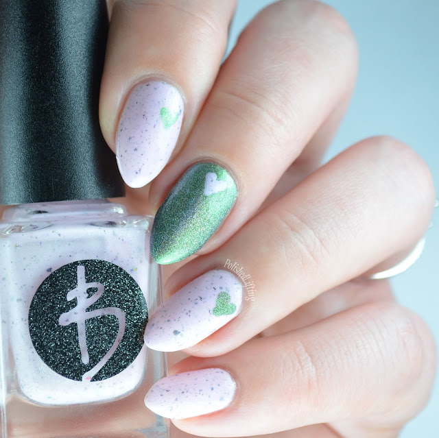 pink and green holographic heart manicure
