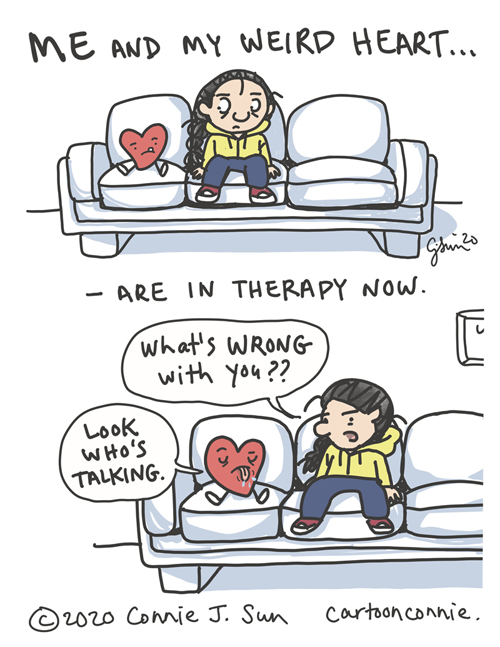 Cartoon illustration about getting therapy and prioritizing mental health wellness. Image of a woman and her heart sitting on a couch. Drawing by Connie Sun, cartoonconnie