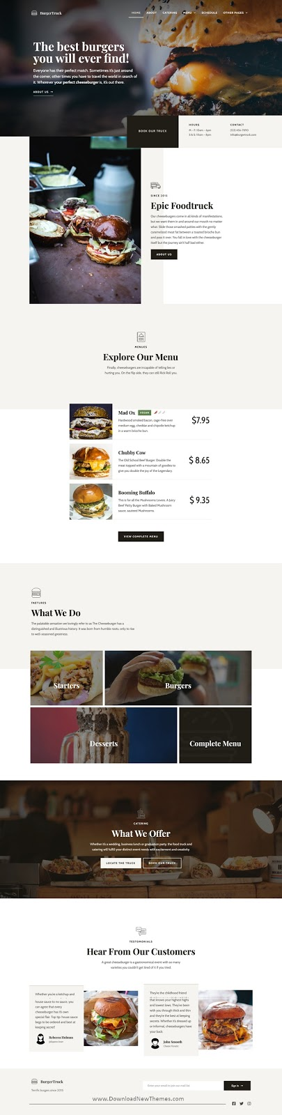 Burger Food Truck Elementor Template Kit