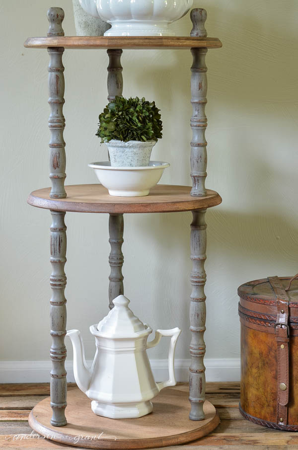 Industrial Farmhouse Three Shelf Table Painted Gray | www.andersonandgrant.com
