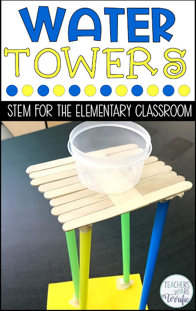 STEM Challenge: Build a model of a water tower. It must hold a bowl of water and remain standing! Check this post to see more towers.