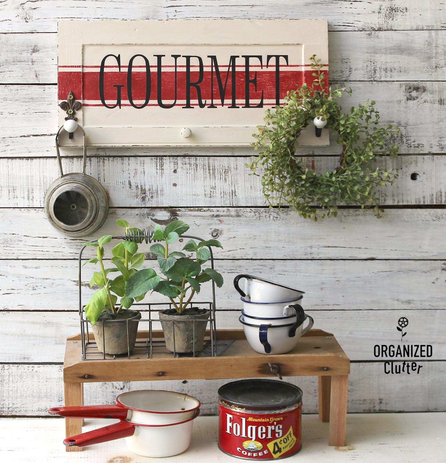 Gourmet Kitchen Cabinets: Garage Sale Cabinet Door Gourmet Kitchen Sign/Wall Hooks