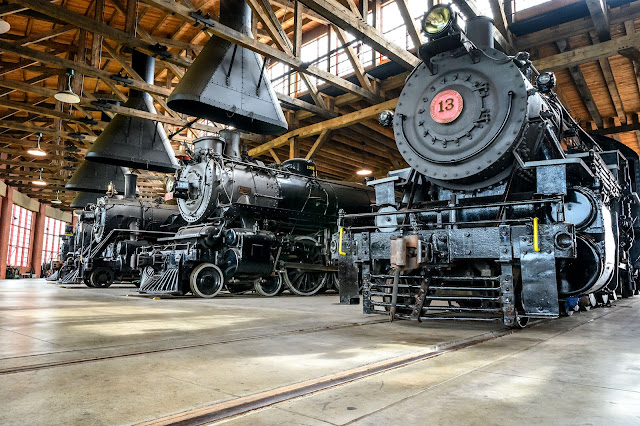 Steam Locomotives in the Roundhouse