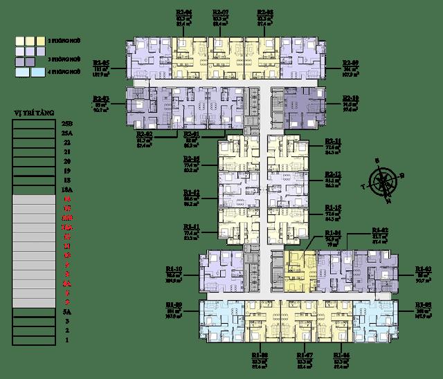 Mặt bằng tầng 5 -16 chung cư Florence
