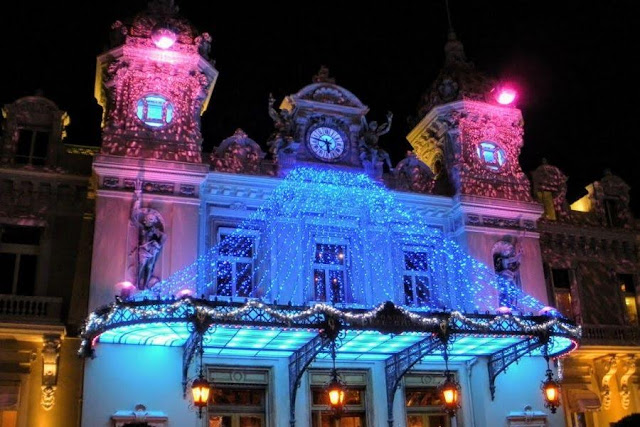 Nice to Monaco by Bus: Monte Carlo Casino facade at night
