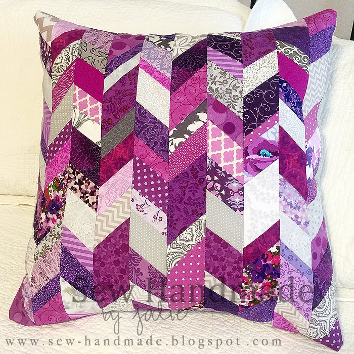 purple scrappy pillow www.sew-handmade.blogspot.com