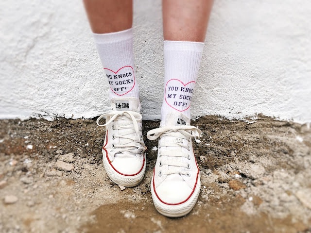 Slogan Socks From Topshop, White Converse Trainers