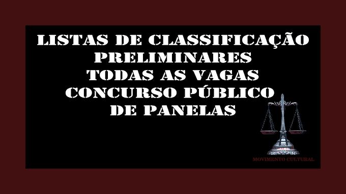 LISTA PRÉVIA DE CLASSIFICAÇÃO - CONCURSO PÚBLICO DE PANELAS