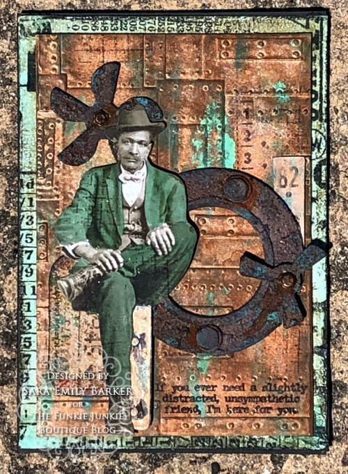 Sara Emily Barker https://sarascloset1.blogspot.com/2020/05/slightly-distracted-and-corroded.html Tim Holtz Masculine Mixed Media Card 1