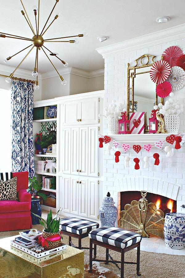 Valentine's Day decorating ideas, heart garland, dollar tree crafts, easy holiday craft