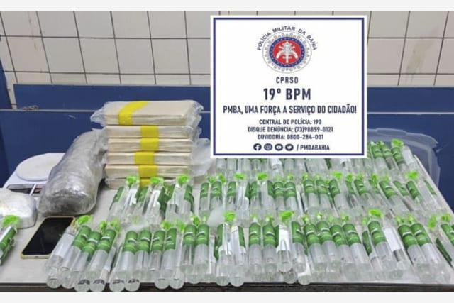Polícia apreende pasta base de cocaína e frascos de lança-perfume em Jequié