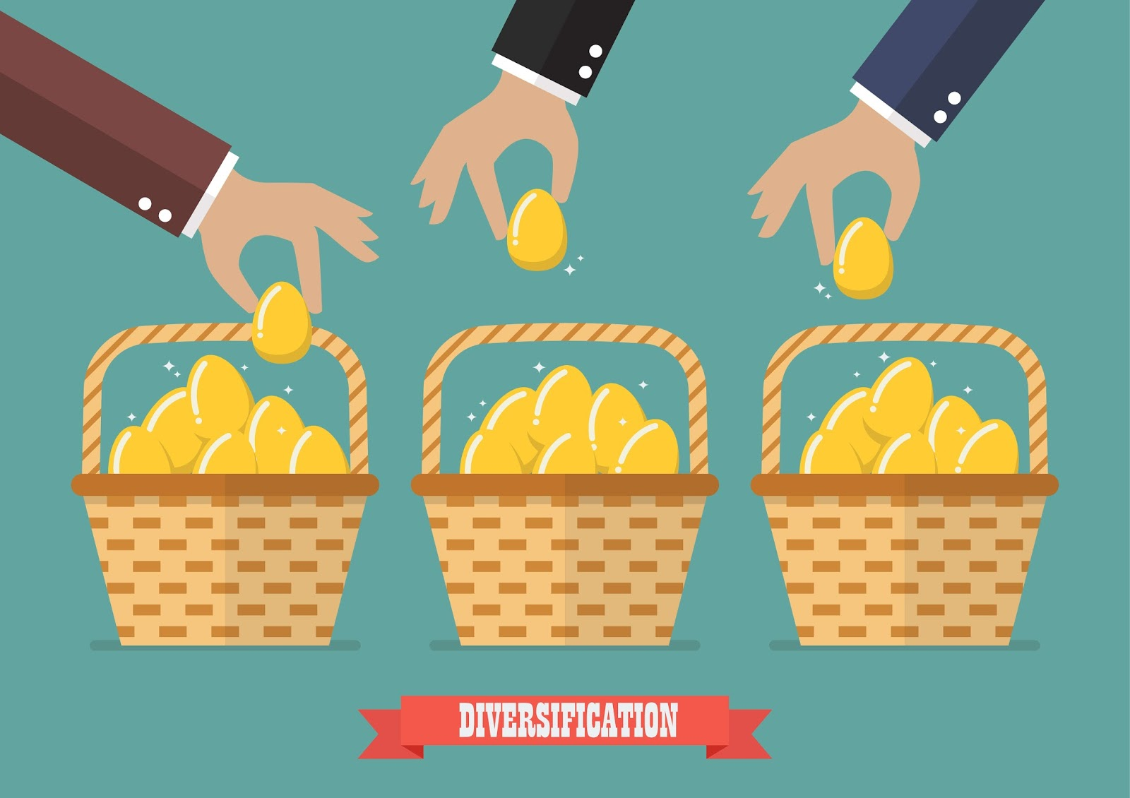 Diversification concept investors placing assets in different baskets