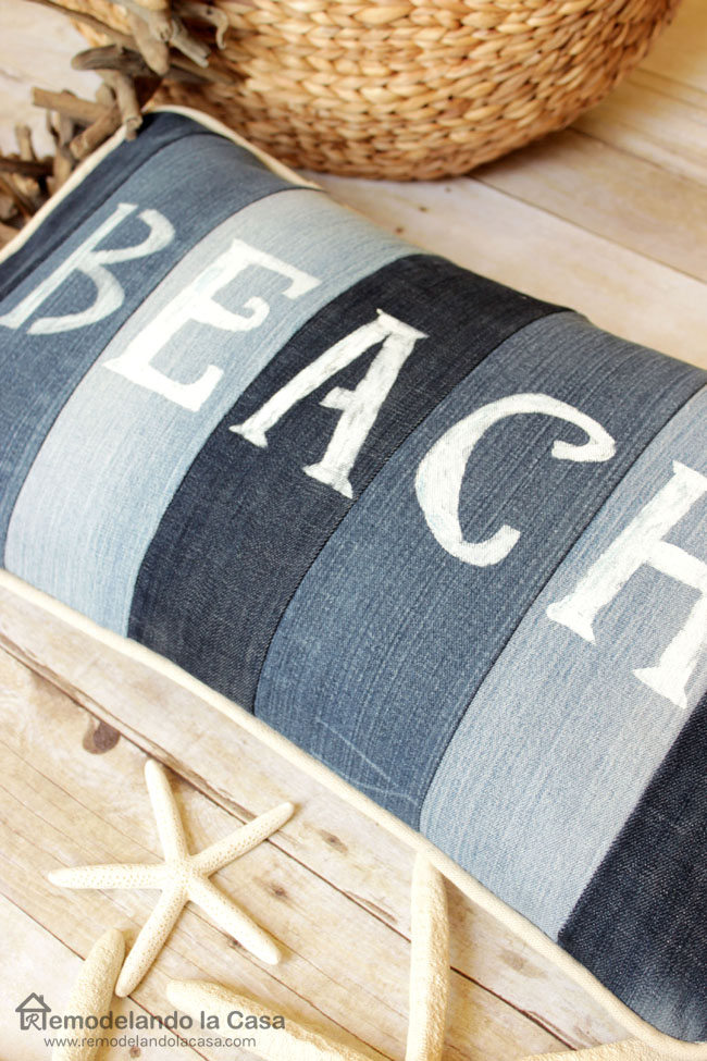 old jeans, pillow, rattan basket, driftwood garland, seashells