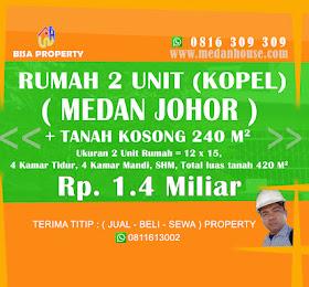 DIJUAL 2 unit rumah dan tanah kosong Daerah, Kel gedung Johor, kec Medan Johor, Kota Medan <del>Rp 1.5 Miliar </del> <price>Rp. 1,4 Miliar (NEGO) </price> <code>rumahtanahdijohor</code>