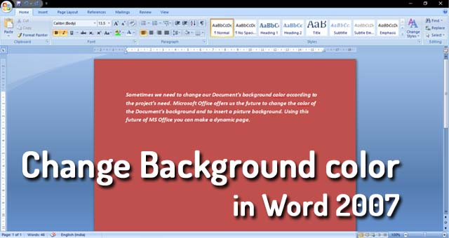 How To Add Background Color in Word 2007