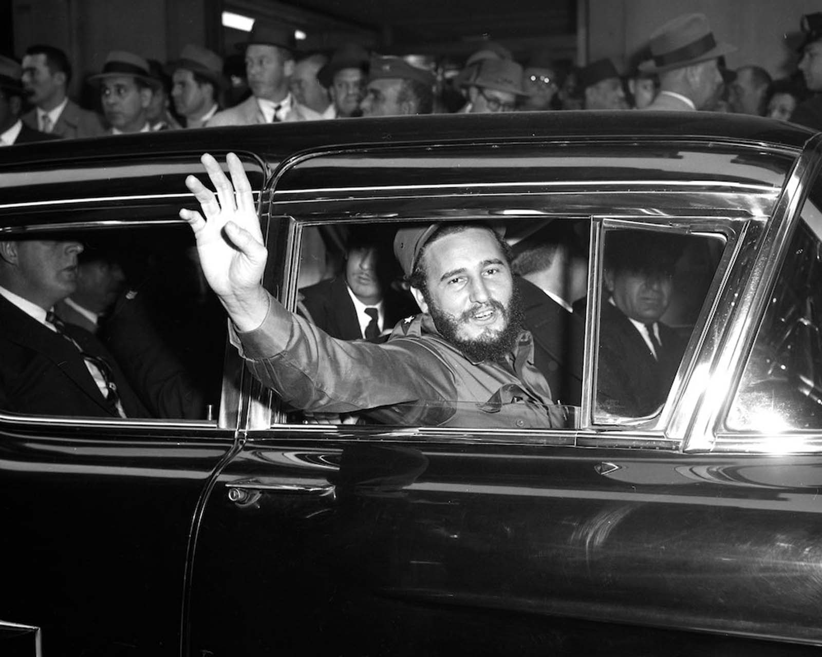 Castro outside the Statler Hotel.
