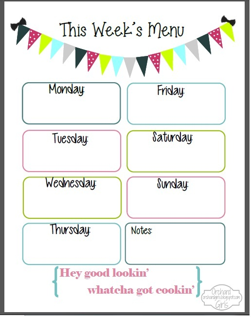 Orchard girls fix it up friday free organizational for Blank daycare menu template